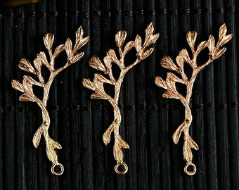 6 pcs of brass branch charm pendant 40x20mm-1647-Raw brass