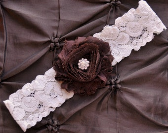 Wedding Garter, Bridal Garter - Ivory Lace Garter, Toss Garter, Shabby Chiffon Chocolate Brown, Brown Wedding Garter, Brown Bridal Garter