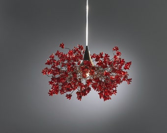 Lighting hanging chandeliers with Red jumping flower for bedroom or living room.