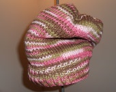 Ready to Ship Ladies Girls  Slouchy Beanie Pink Camo Yarn  Knitted Hat