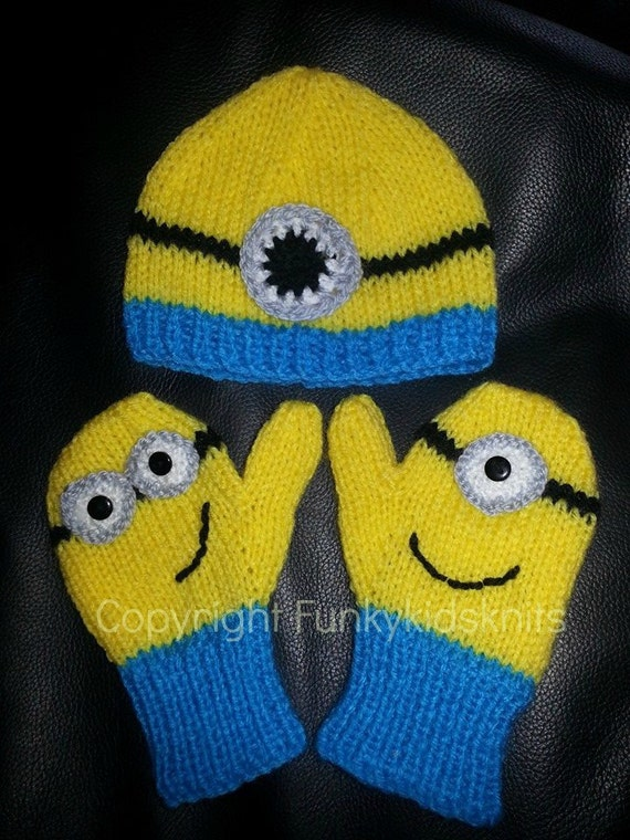 Items similar to Hand Knitted Despicable Me Minion Hat and Mitten Set on Etsy