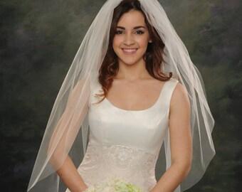 1 Tier White Wedding Veils Fingertip 40 Single Layer Light Ivory Bridal Veils 72 Wide Illusion Raw Cut Edge Traditional Weddings