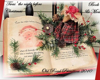 Primitive Christmas Mouse Pattern Twas the night before Christmas Book and Mouse ePattern