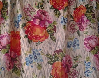Tapestry Rose Cotton Voile Beaded Valance