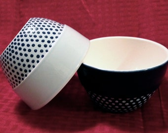 Set of Two Bowls Hand Painted with Dotted Pattern