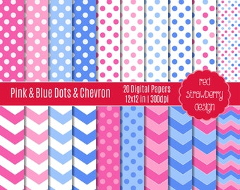 75% OFF Sale - Pink & Blue Dots and Chevron - 20 Digital Papers - Instant Download - JPG 12x12 (DP147)