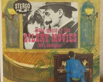 Vintage LP Record Mood Music of the Silent Movies with narration  R-2