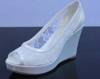 Handmade Lace Bridal Wedding shoes  + GIFT Bridal Pantyhose #6007