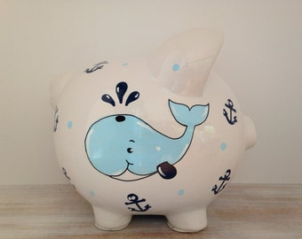 Nautical piggy bank etsy - Nautical piggy banks ...