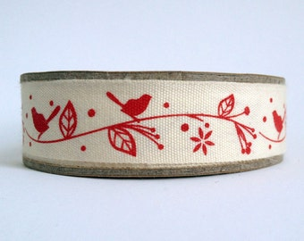 1m Bird and leaves print fabric cotton ribbon trim tape - red - 1 metre