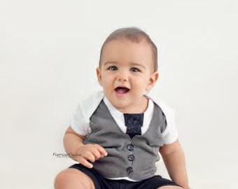 Vest & Tie Onesies for Boys - 3 Months