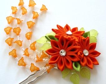 Orange Kanzashi fabric flower hair fork.  Orange kanzashi flower hair U pin. Japanese hair fork. Kanzashi hair stick. Oriental hair pin.