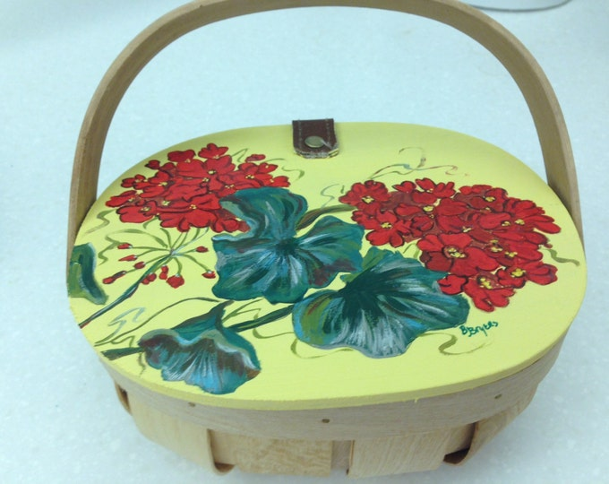 Wicker Basket with Wooden Hinged Lid and Handle - Acrylic Painted Geraniums on Top