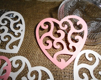 Pink and White Valentine Heart Die cuts Set of 12