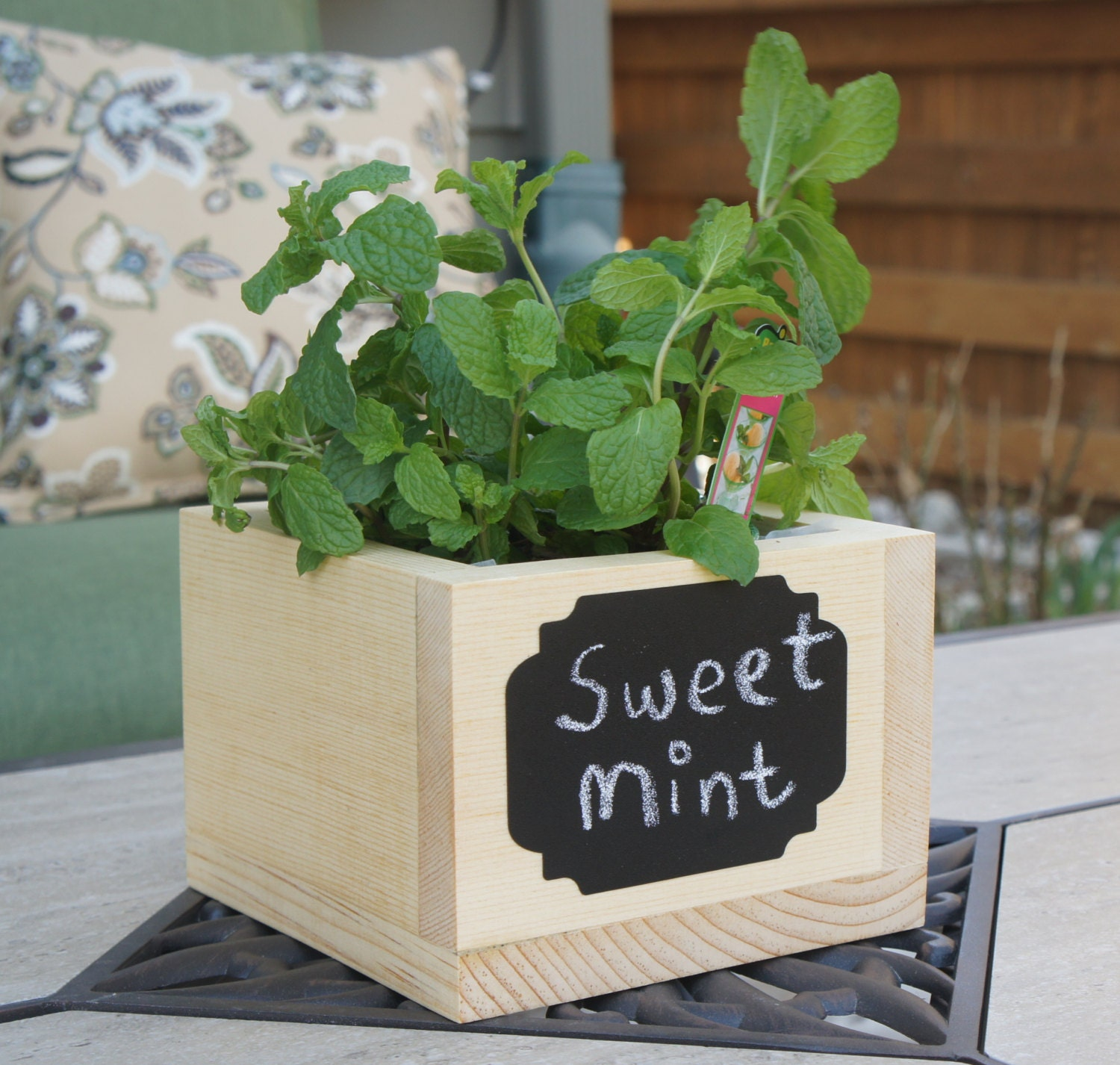 Kitchen Garden Planter: Handcrafted Planter Box With Reusable Chalkboard For Kitchen