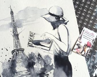 Parisian Girl Watercolor - Print Parisian Cityscape - Fashion Watercolor Dior - Fashion illustration