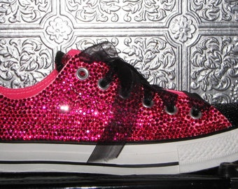 rhinestone chuck taylor converse all star sneakers with gitter and ribbon laces