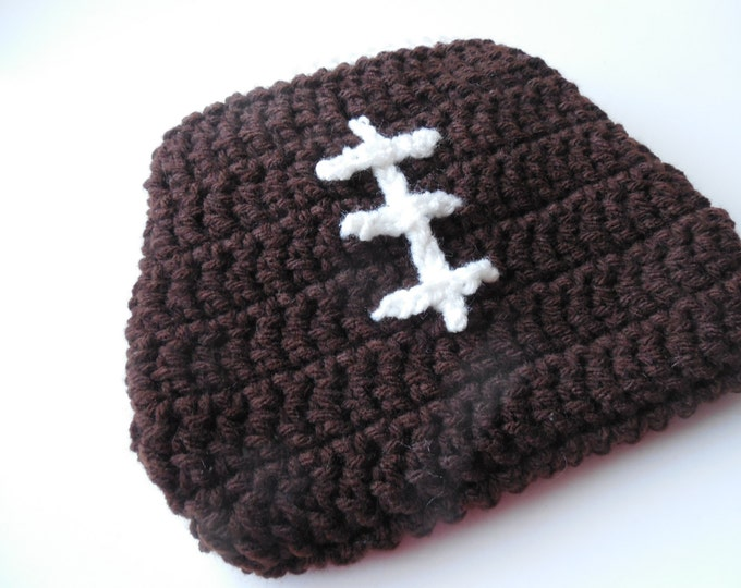 Football Baby Diaper Cover - Baby Diaper Cover - Brown with White Trim - Handmade Crochet - Made to Order