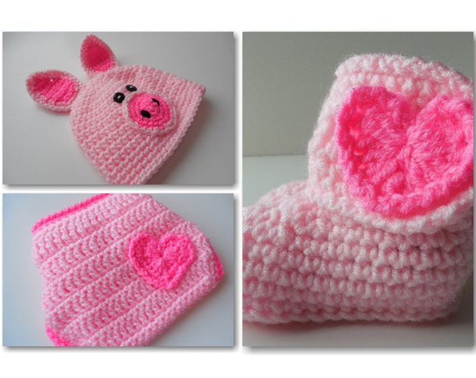 Piggy Crochet Baby Set -  Baby Beanie - Diaper Cover - Booties - Set - Pink - 0 to 6 Months - Handmade Crochet - Made to Order