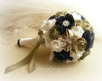 R2200 - Bride bouquet - Avo green and navy blue - Bridal jewelled bouquet