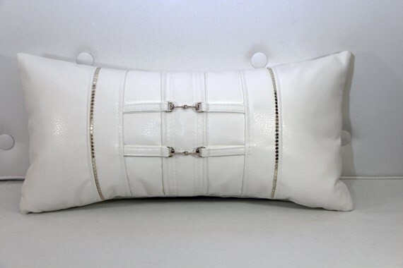 White Faux Leather Pillow With Silver Trim And By