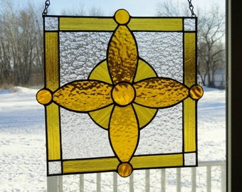 Amber Gem Stain Glass