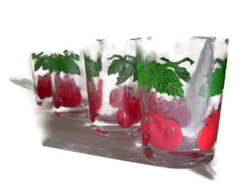 Vintage Federal Glass Juice Glasses, Red Tomato and Green Vine, Set of 4, 50's Glassware, Retro Kitchen, Cottage Chic