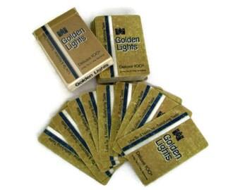 Vintage Playing Cards Golden Lights Cigarettes Gold and Blue, Bridge Cards Vintage Game Promotional, Scrapbooking, Poker Cards