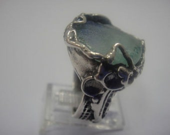 Beautiful 925 Sterling Silver Ring, Ancient Roman Glass Ring, Roman Glass Jewelry size 10