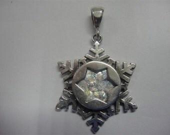 Beautiful Ancient Roman Glass Pendant, 925 Sterling Silver Pendant, Roman Glass Jewelry, Snow Flake, Gift