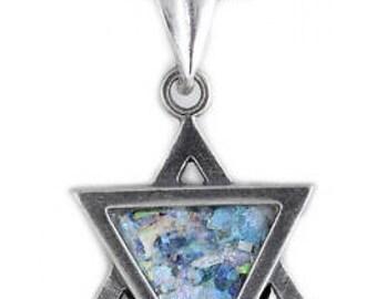Gentle David Star Pendant, 925 Sterling Silver Pendant, Ancient Roman Glass Pendant, Judaica, Roman Glass Jewelry, OOAK