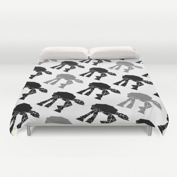 Star Wars Black And White At At Duvet Cover