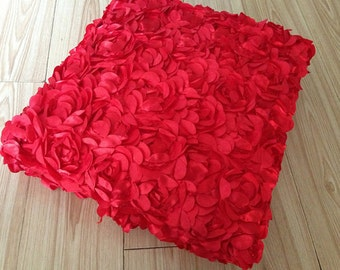 red Satin Rosette Fabric, Bridal Fabric, Wedding Backdrop, Baby Photography Backdrop, Prop, Blanket, 3D lace fabric, Bridal Gown Fabric