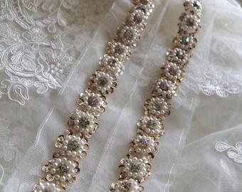 beaded lace trim, bridal sash, beaded jewelry Trim, Pearl Beading trim, sequined lace trim,Bridal Belt