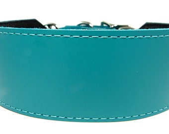 Jade Green/Teal Adjustable leather martingale collar for large dogs
