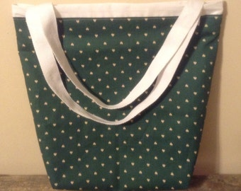 Green hearted tote bag
