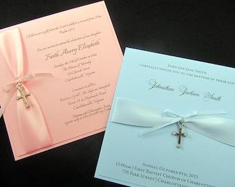 Elegant Christening Invitation with Cross Embellishment