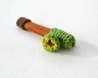 Green brooch - crochet and cinnamonstick- textile jewelry, primitive tree lime yellow, brown beaded pin