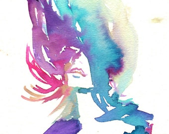 """On Sale """"Be Free"""" by Jessica Buhman, Print of Original Watercolor Painting, 8 x 10 Green Blue Purple Pink Floral"""