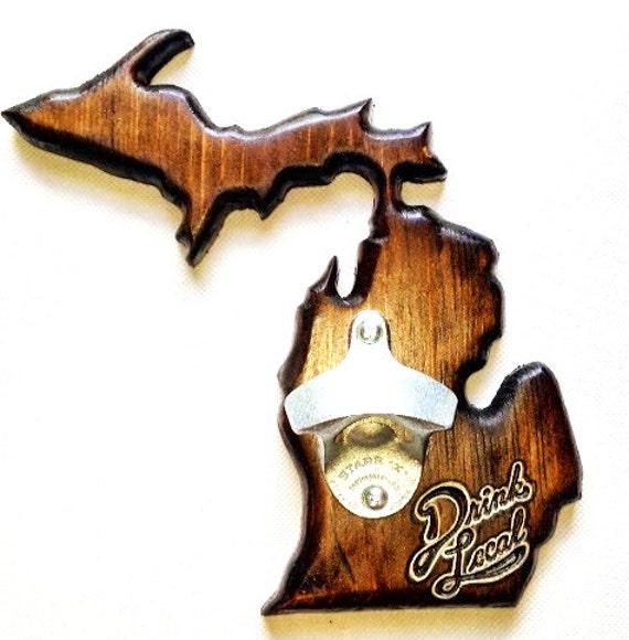 Wall-Mounted Custom Wooden Michigan Bottle Opener with Upper Peninsula
