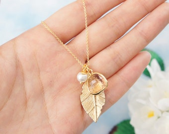 Gold Leaf Necklace. Peach Framed Glass & Pearl Necklace. Bridesmaid Gift.