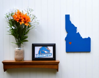 "Boise State Broncos ""State Heart"" wall art, handcrafted wood with official team colors"