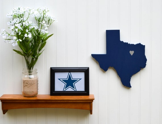 """Dallas Cowboys  """"State Heart"""" wall art, handcrafted wood with official team colors"""