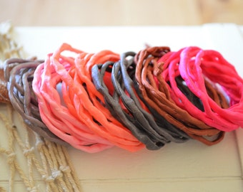 Hand dyed Silk Cords  - Set of 6 - brown pink colors silk ribbons
