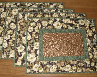 Quilted Placemats White Flowers and Butterflies, Formal Place Mats, Floral Quilted Placemats, Metallic Green Brown Cream, Quiltsy Handmade