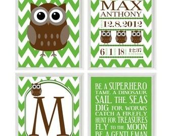 Nursery Art Owl Print Birth Stats - Personalize Baby Name - Owls Brown Green - Chevron - Baby Boy Room - Custom Wall Art