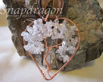 Clear quartz heart shaped tree of life necklace