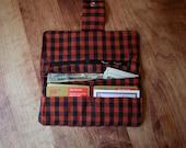Red & Black Checkered Bi Fold Wallet  Fabric Clutch for Women  Cloth Wallet for Women Organizer Wallet