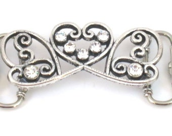 Silver color Heart Shape Cardigan Clip with Crystals