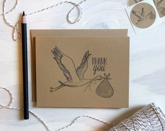 Set of 5 Rustic Kraft Stork Baby Thank You Cards | Baby Shower Cards | Stationary | Baby Shower Thank You | Rustic Shower | Stationery